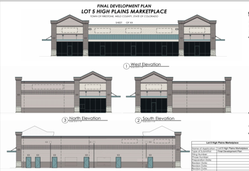 Development Plan Image for new retail spaces for lease at 6130 Firestone Blvd, Firestone, CO.